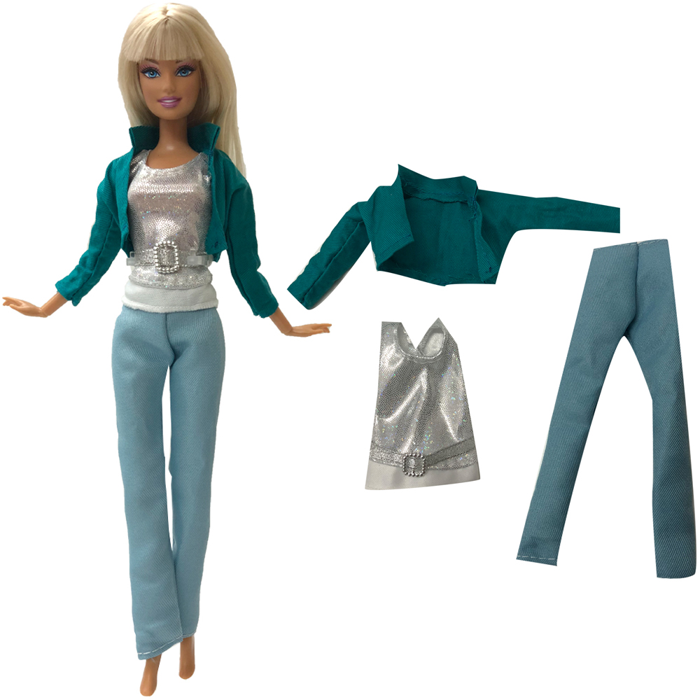 NK One Set Doll Clothes Handmade  Jeans Pants Fashion Outfit Clothes For Barbie Doll Child' Toys Best Gifts For Girl DZ