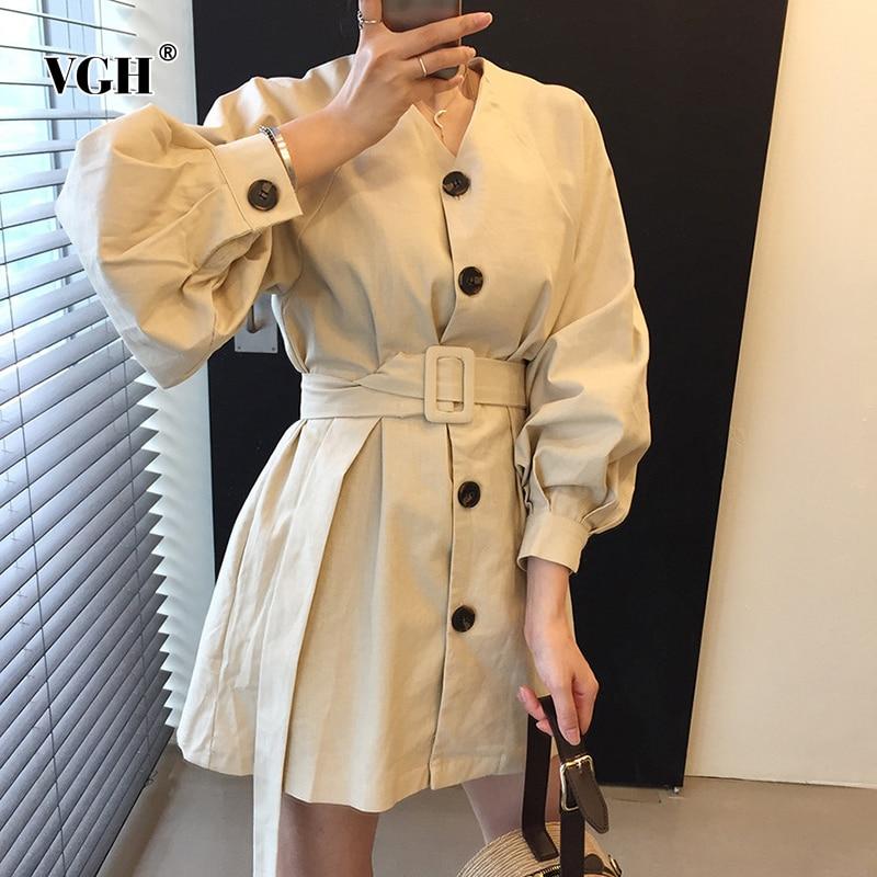 Vgh elegante solto vestido feminino v pescoço lanterna manga longa cintura alta com faixas mini vestidos para roupas de moda feminina 2020 novo