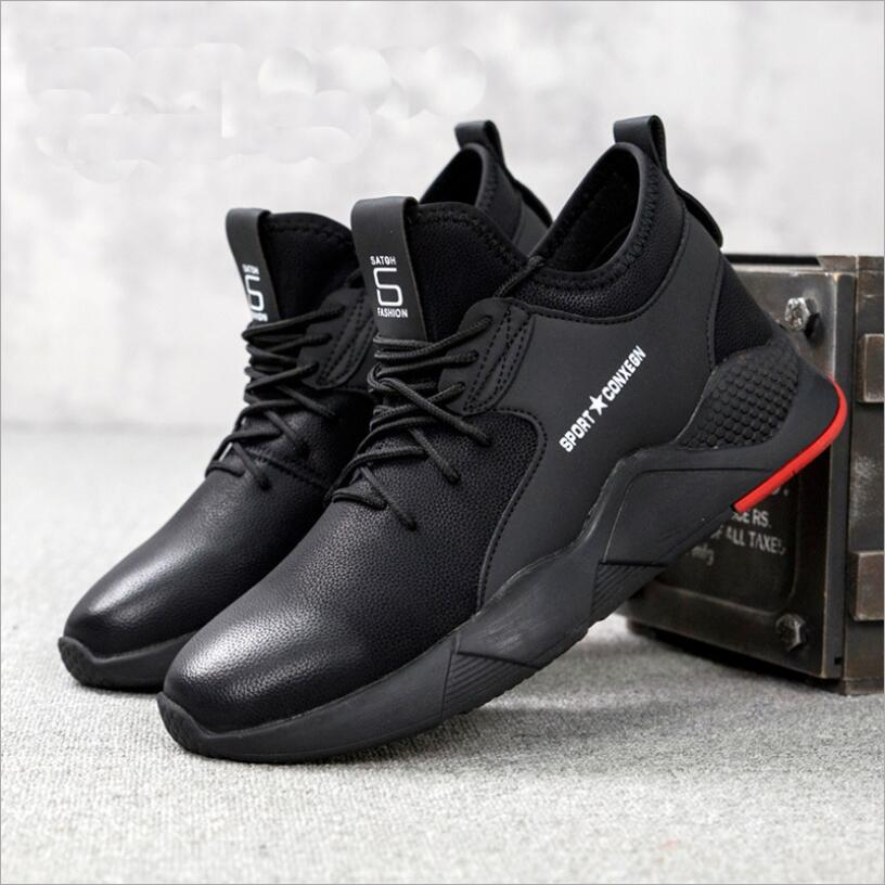 Men Breathable Puncture Proof Heavy Duty Knitted Fabric Light Weight  Anti-Slip Height-increased Sneakers Shoes