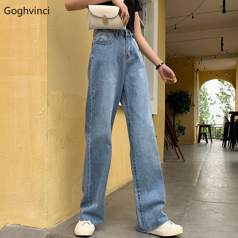 Jeans Women Hot Sale Wide Leg High Waist Zipper Loose Womens Korean Fashion Casual Daily Retro Females All Match Trousers Chic