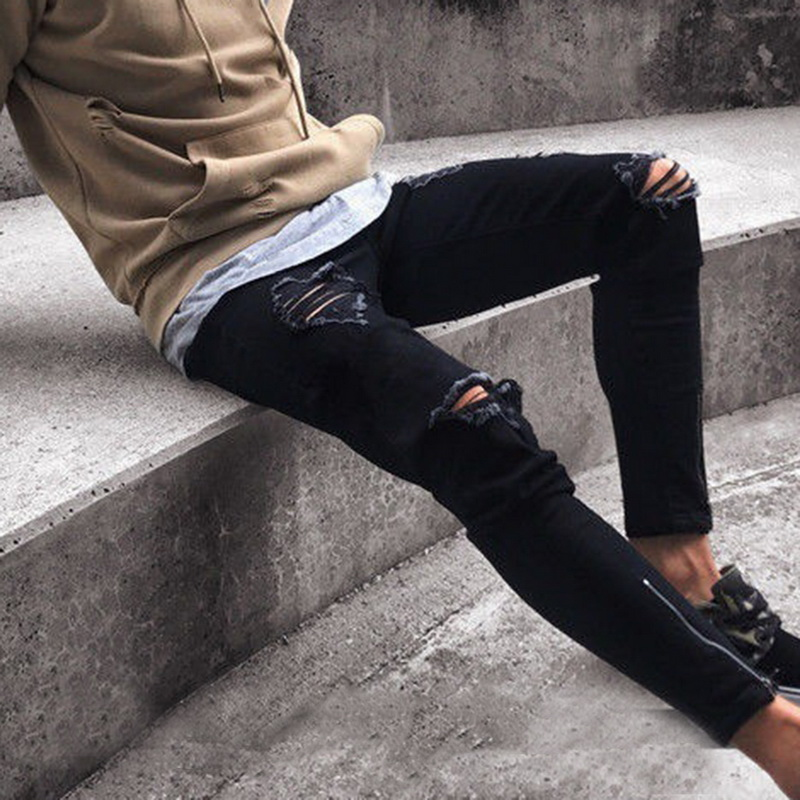WENYUJH 2019 Fashion Ripped Jeans Men Pants Skinny Slim Straight Denim Jeans With Zipper Bottom New Style Pencil Pants Clothes
