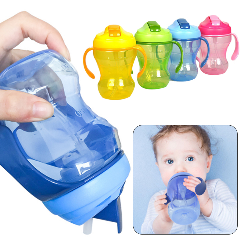 Learn Feeding Cup Infantile Cup Baby Cup 3 Colors 260ML Sippy Straw Feeding Kids Water Bottle Portable Bottle Bottlesippy Cup