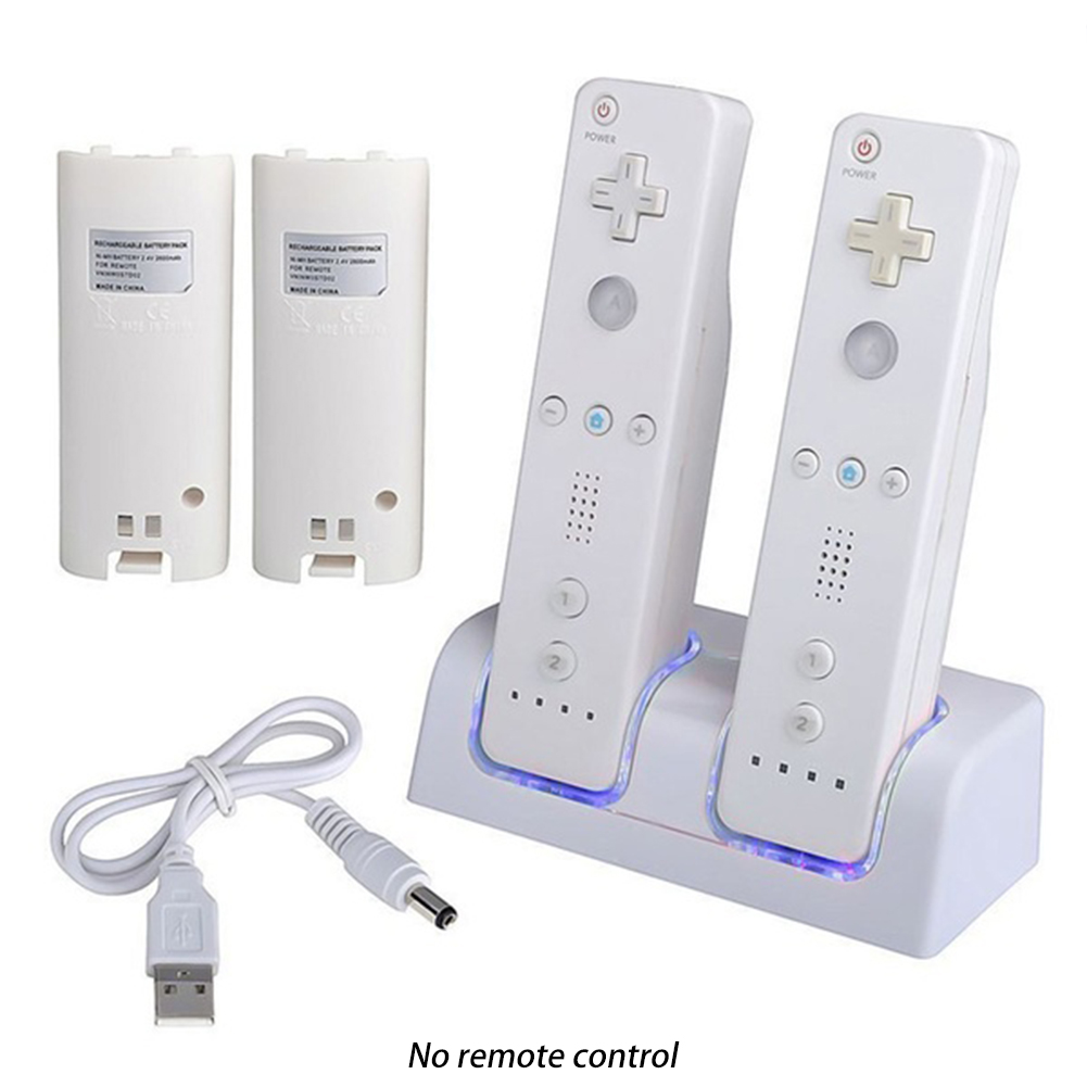 New Remote Controller Dual Charging Dock Station + 2x 2800mAh Battery Pack For Nintendo Wii Gamepad Charger With LED Light