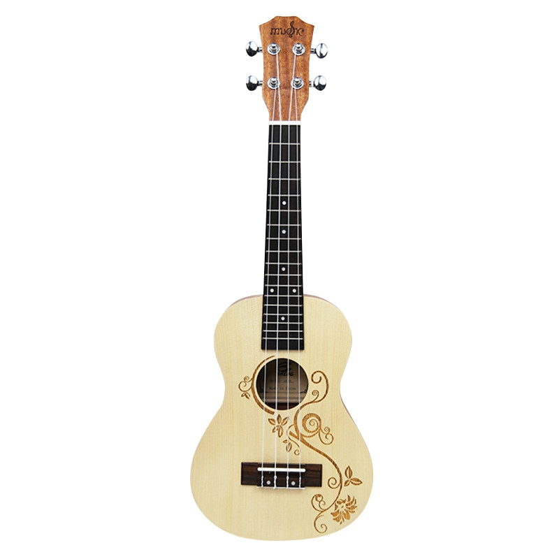 23 Inch Ukulele Concert Acoustic Mini Guitar Rosewood Fretboard 4 Strings Spruce Wood Carvings Uke
