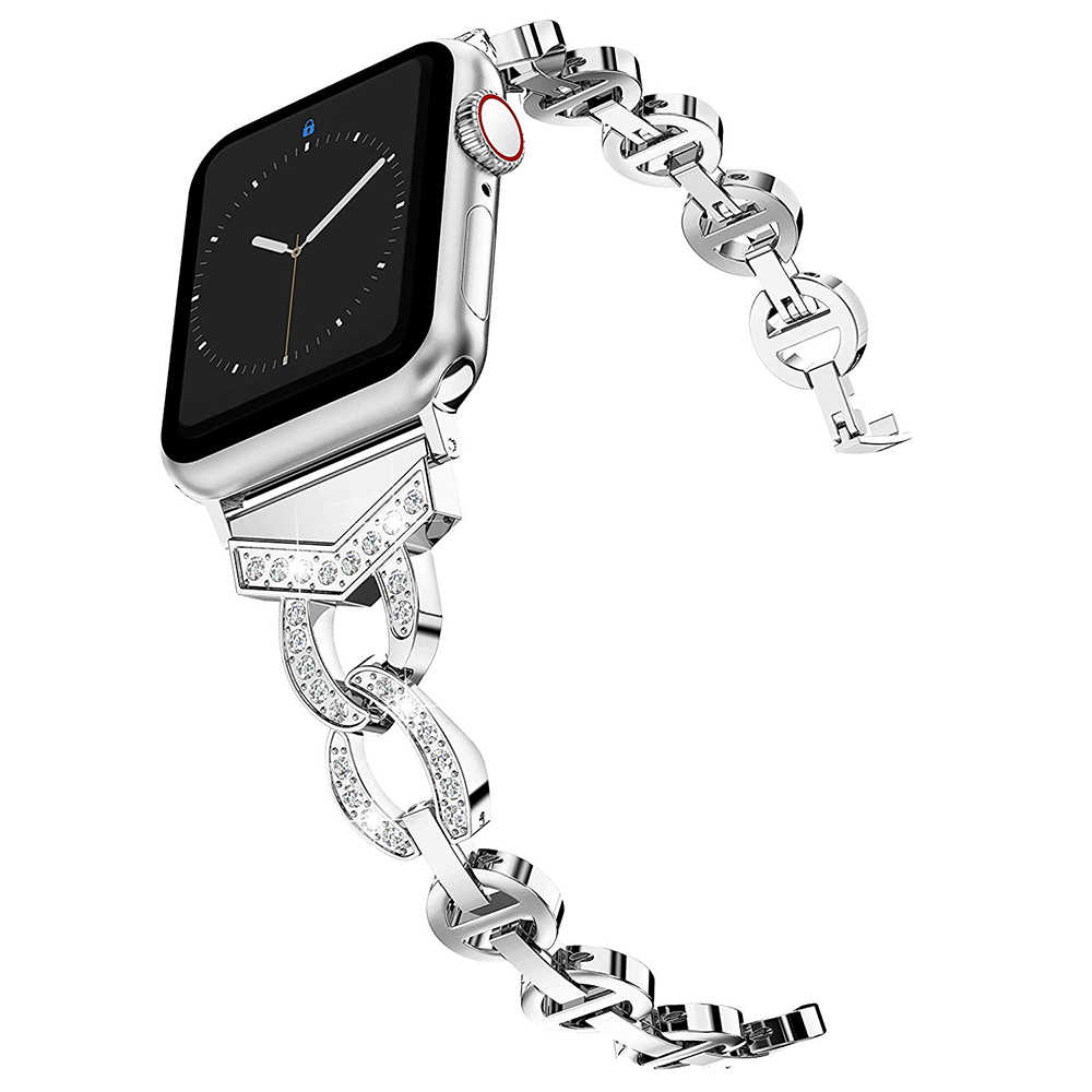 Luksusowe ze stali nierdzewnej taśma metalowa dla pasek do Apple Watch 44mm 42mm 40mm 38mm diament pasek do iWatch 5 4 3 2 1 akcesoria do zegarków