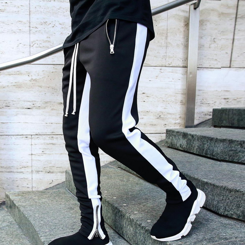 MJARTORIA Pant Mens Hip Hop Casual Joggers 2019 Striped Panelled Sweatpants Trousers Male Street Fashion Mens Trousers