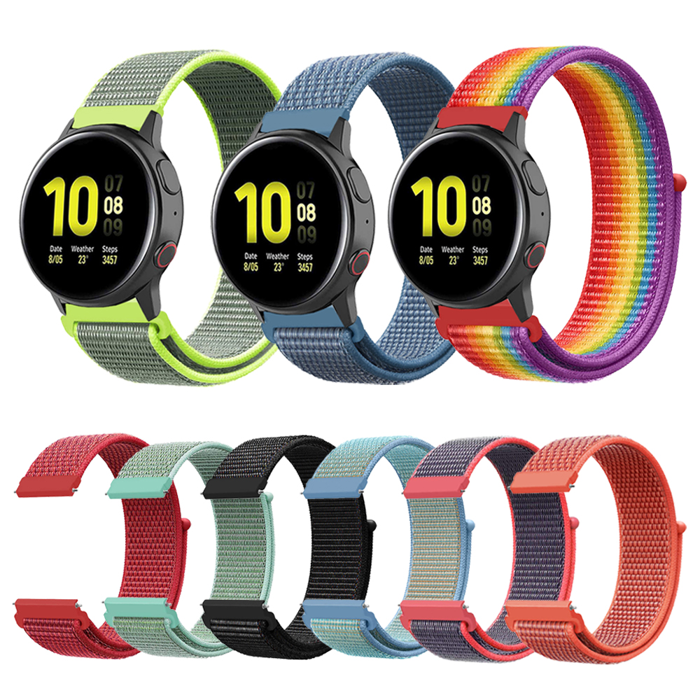 Woven Nylon Loop Strap For Samsung Galaxy Watch Active2 44mm 40mm SM-R820 R830/Active 2 Band Bracelet Gear S3/Sport/S2 Watchband