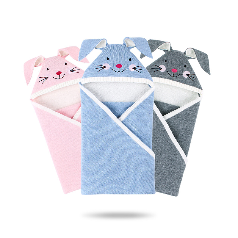 Baby Sleeping Bags For Stroller Winter Warm Toddler Infant Swaddle Wrap Autumn Rabbit Knitted Envelopes For Newborn Kids