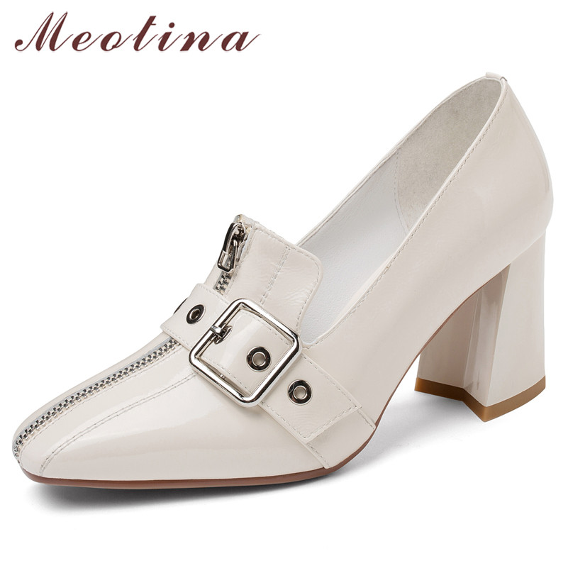 Meotina High Heels Women Shoes Natural Genuine Leather Buckle Thick High Heel Shoes Real Leather Zip Square Toe Pumps Female 39