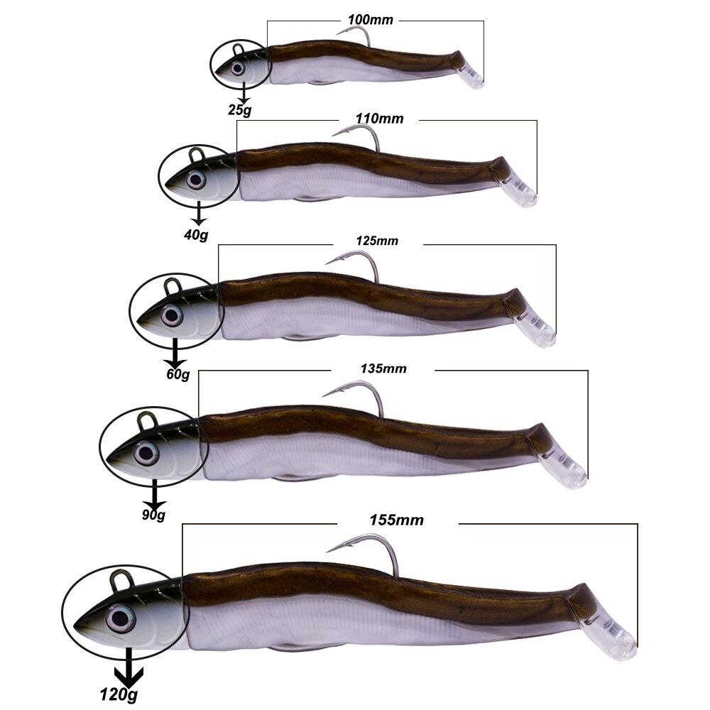 Hunthouse Black Minnow 100mm 25g Fishing Soft Baits Pike Lures Jig Head Bass Fishing Leurre Souple Shad Muskies Predator
