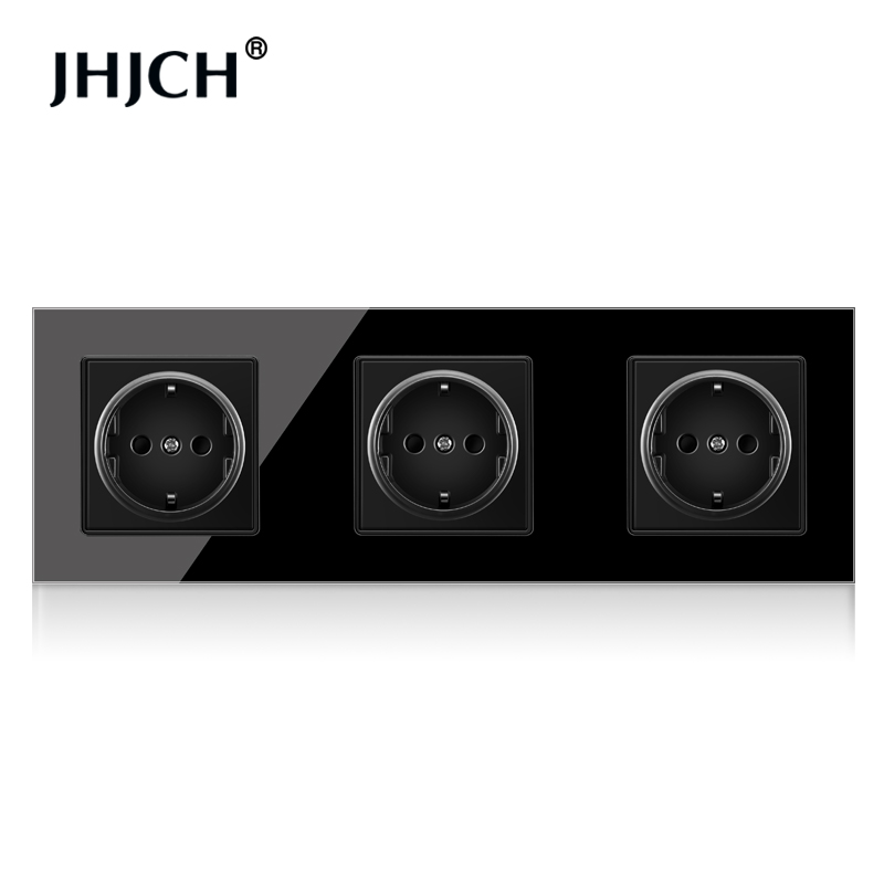 JHJCH Crystal Tempered Glass Panel 2,3 ,4Gang Power Wall Socket Grounded 16A EU Standard Electrical Triple Outlet