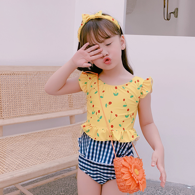 New Style Korean-style Girls Cute Two-piece Swimsuits Sweet Cherry Swimwear Infants Small Children Swimming Suit