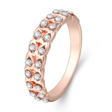 New Simple Crystal Rose Gold Rings For Women Leaf Shape Wedding Rings For Ladies Fashion Finger Rings For Women birthday Gifts(China)