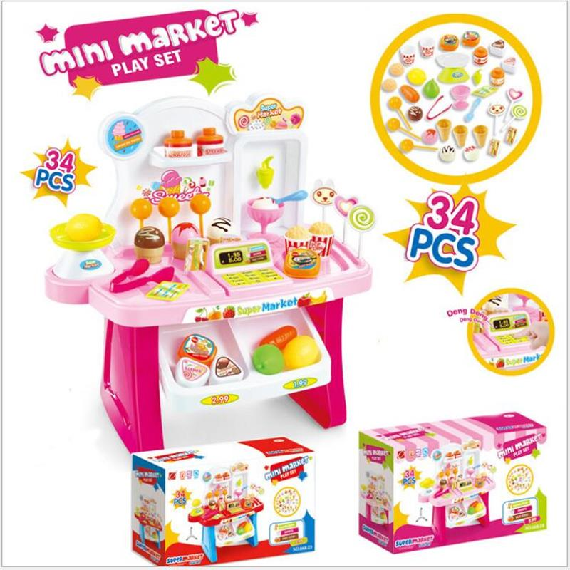 Diy Kids <font><b>Grocery</b></font> Food Ice cream and Candy <font><b>Store</b></font> Supermarket Shopping <font><b>Toy</b></font> Pretend Play <font><b>Toy</b></font> Children's day gift baby <font><b>toy</b></font> image