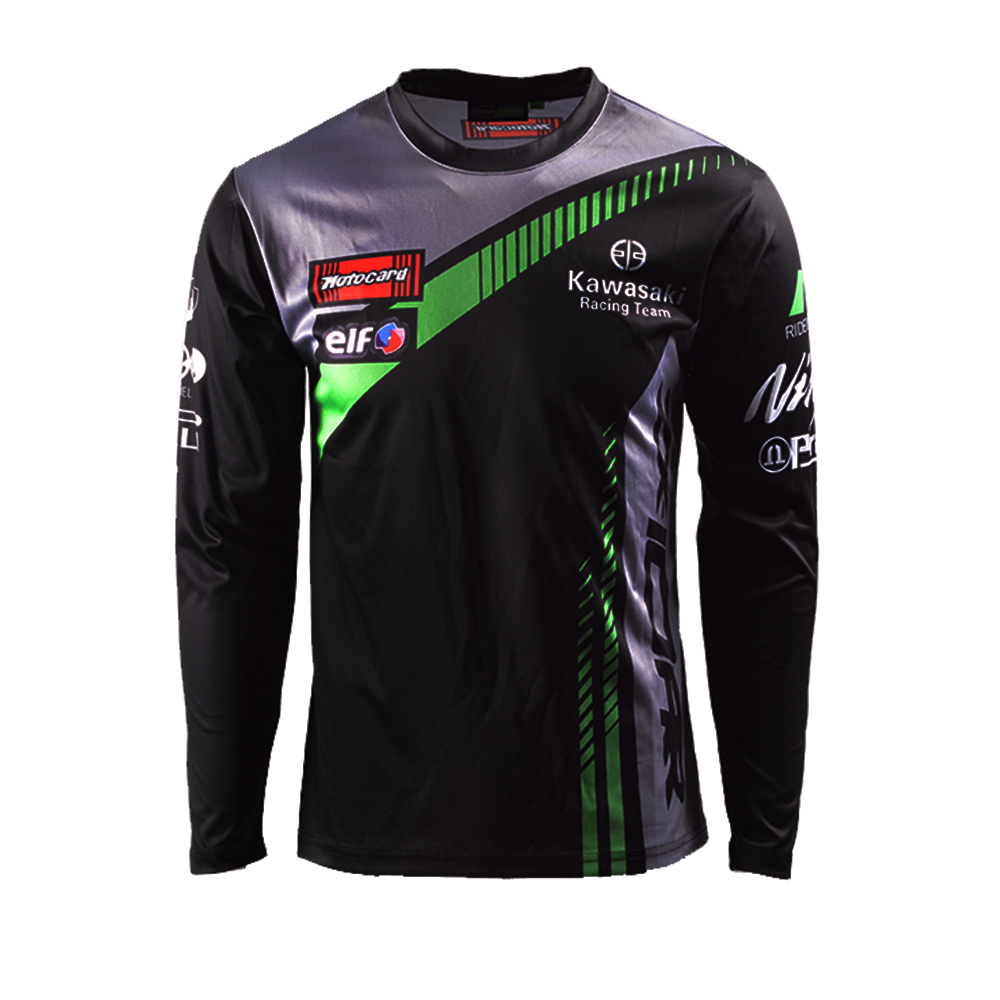 Motorcycle Long Sleeve T-shirt For Kawasaki Team Racing Wear Black Team Racing Jersey
