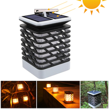 Solar Lamp Flame Path Lights Lamp Flickering Smokeless Candle Waterproof Lamp Flickering Garden Light Hanging Solar Lantern