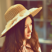Women lace sun hats for  wide brim straw beach side cap floppy female straw hat lace solid fringe straw hat summer hat chapeu