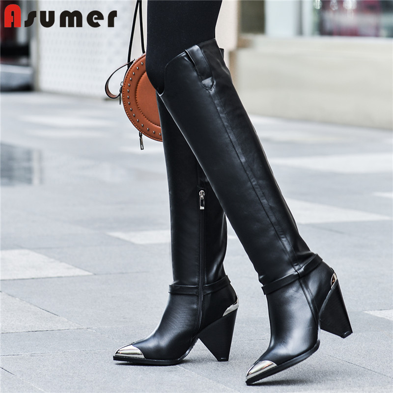 ASUMER 2020 New genuine leather boots women shoes metal pointed toe autumn boots ladies knee high boots fashion western boots