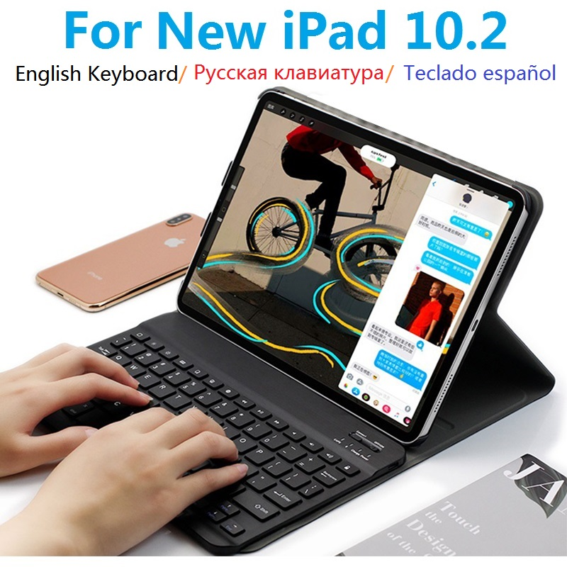 New Russian Spanish Keyboard Coque For IPad 10.2 Case With Keyboard Removable A2197 A2198 A2200 For Apple IPad 7th 10.2 Cover