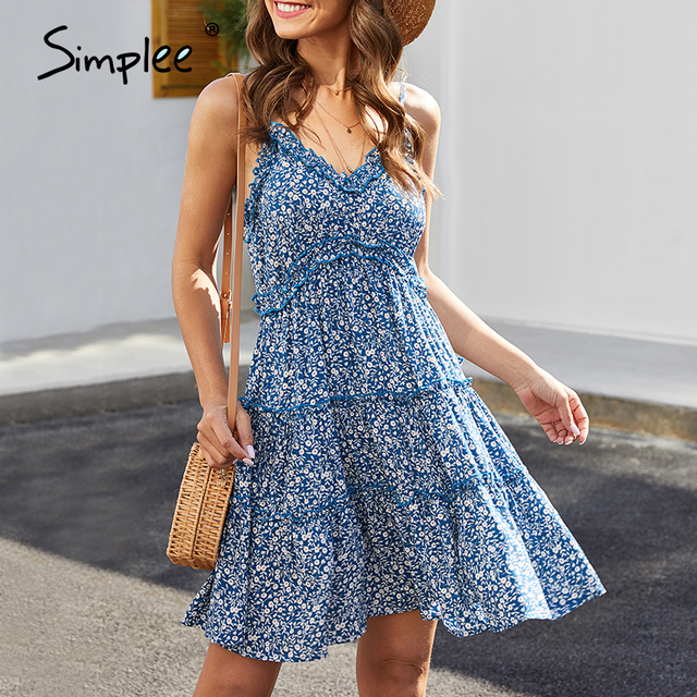 Simplee seksowna dekolt w serek letnia sukienka damska kwiatowy print bez rękawów potargane sukienka boho wysokiej talii pasek damski bawełniana sukienka boho 2020