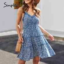 Simplee مثير الخامس الرقبة فستان صيفي المرأة الأزهار طباعة أكمام تكدرت بوهو فستان عالية الخصر السيدات حزام القطن بوهو فستان 2020