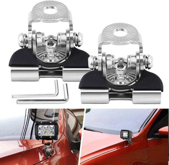 1คู่รถ Hood LED Light วงเล็บยึด Universal Engine Cover A เสาโคมไฟคลิป Spotlight Stand Mount ผู้ถือ Clamp