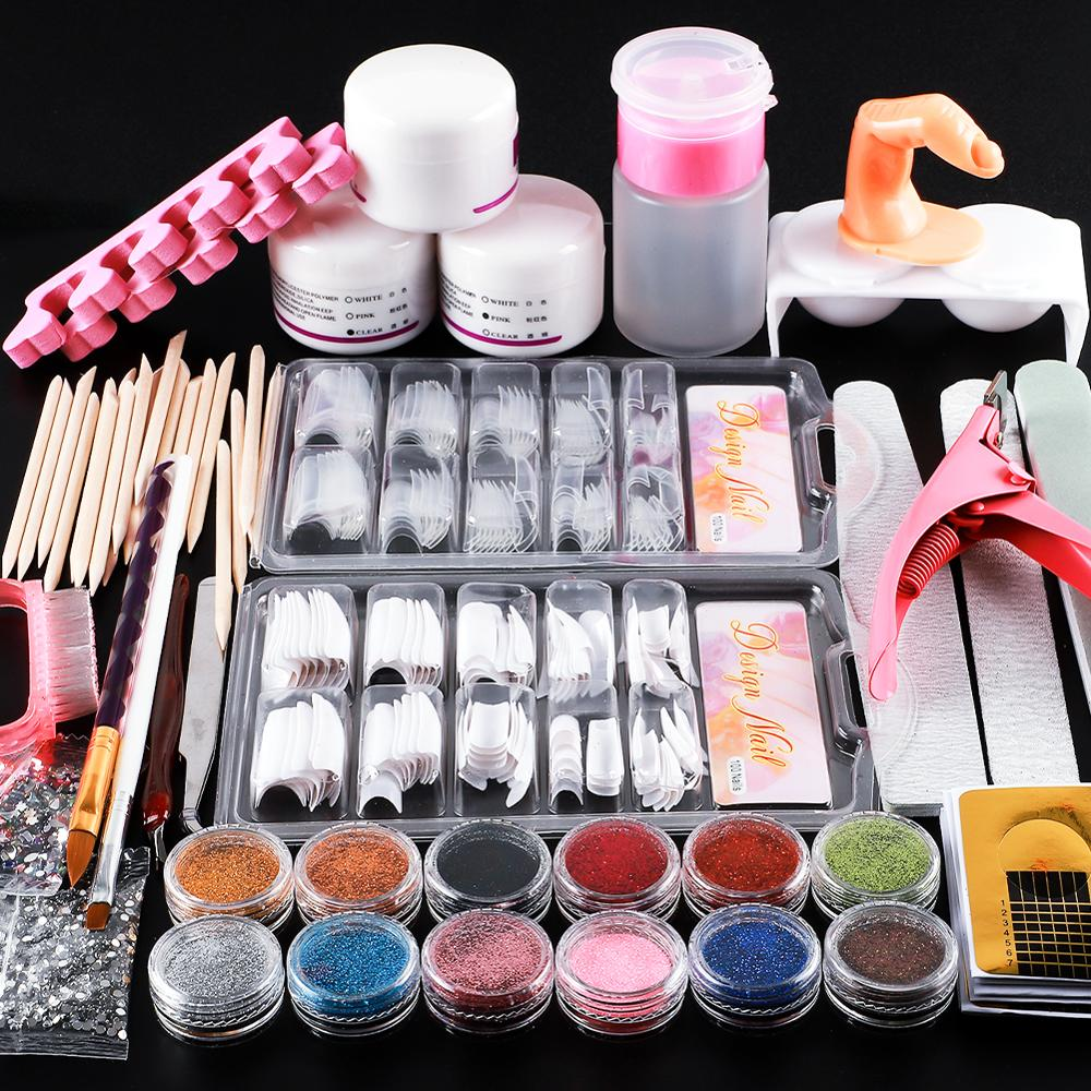 Full Acrylic Powder Nail Art Tool Starter Kit/Set Nail Tips Brush File Form DIY Kit For Beginners Nail Glitter Powder