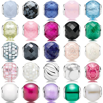 NEW 100% 925 Sterling Silver Beads Charms Multicolor Essence Murano Glass Beads collocation DIY Bracelet & Bangle fine jewelry charms beads 100