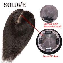 """10 """" """" 20 ישר תחרה + PU שיער טופר שיער טבעי שיער חתיכה לנשים צבע טבעי רמי נשים פאה עם קשרים כפולים"""