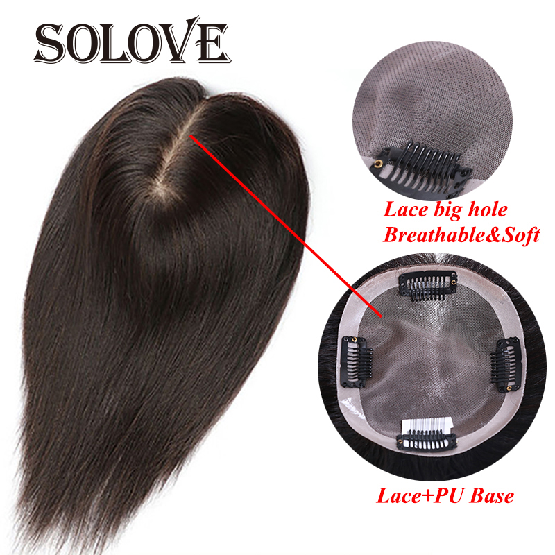 """10""""-""""20 Straight LACE+PU Hair Topper Human Hair Hair Piece For Women Natural Color Remy Women Toupee With Double Knots"""