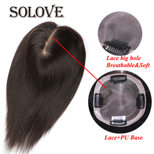 "Image 1 - 10"" ""20 Straight LACE+PU Hair Topper Human Hair Hair piece for Women Natural Color Remy Women Toupee with Double Knots"