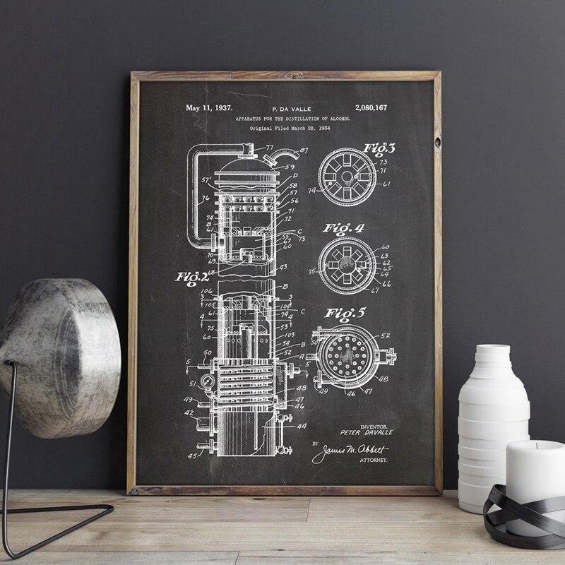 Dispositivo para destilación de impresiones de carteles de patente de Alcohol, decoración de pared de ciencia, lienzo de Blueprint Vintage, regalo
