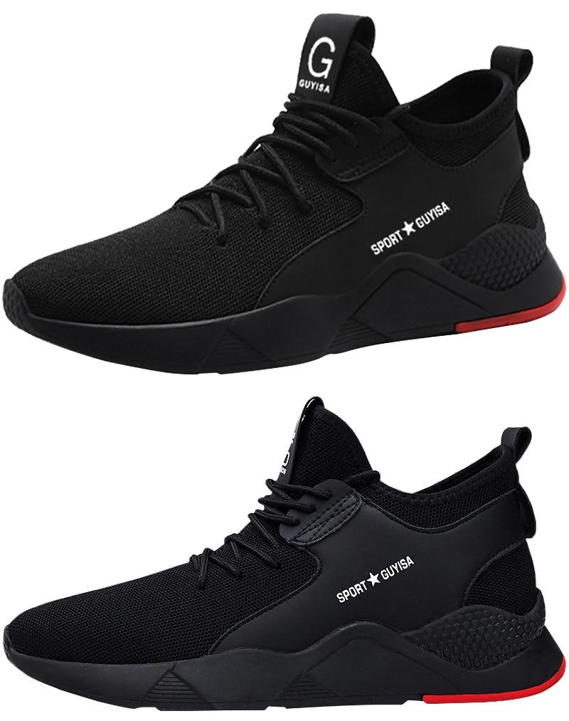 Steel Toe Construction Protective Footwear Lightweight 3D Shockproof Work Sneaker Shoes For Men