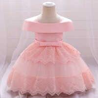 Vestido de cumpleaños de 2 a 1 año para recién nacido, ropa para niña, vestidos de bautizo de princesa con flores, vestido de fiesta de un hombro para niña 2021