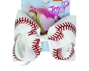 Image 4 - Yeni 7 inç saç yay softbol yaylar saç tokası ile Cheer bow beyzbol futbol voleybol dans elastik band abd 10 adet/
