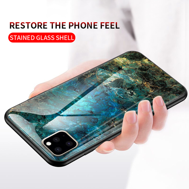 KEYSION Marble Tempered Glass Case for iPhone 11/11 Pro/11 Pro Max 3