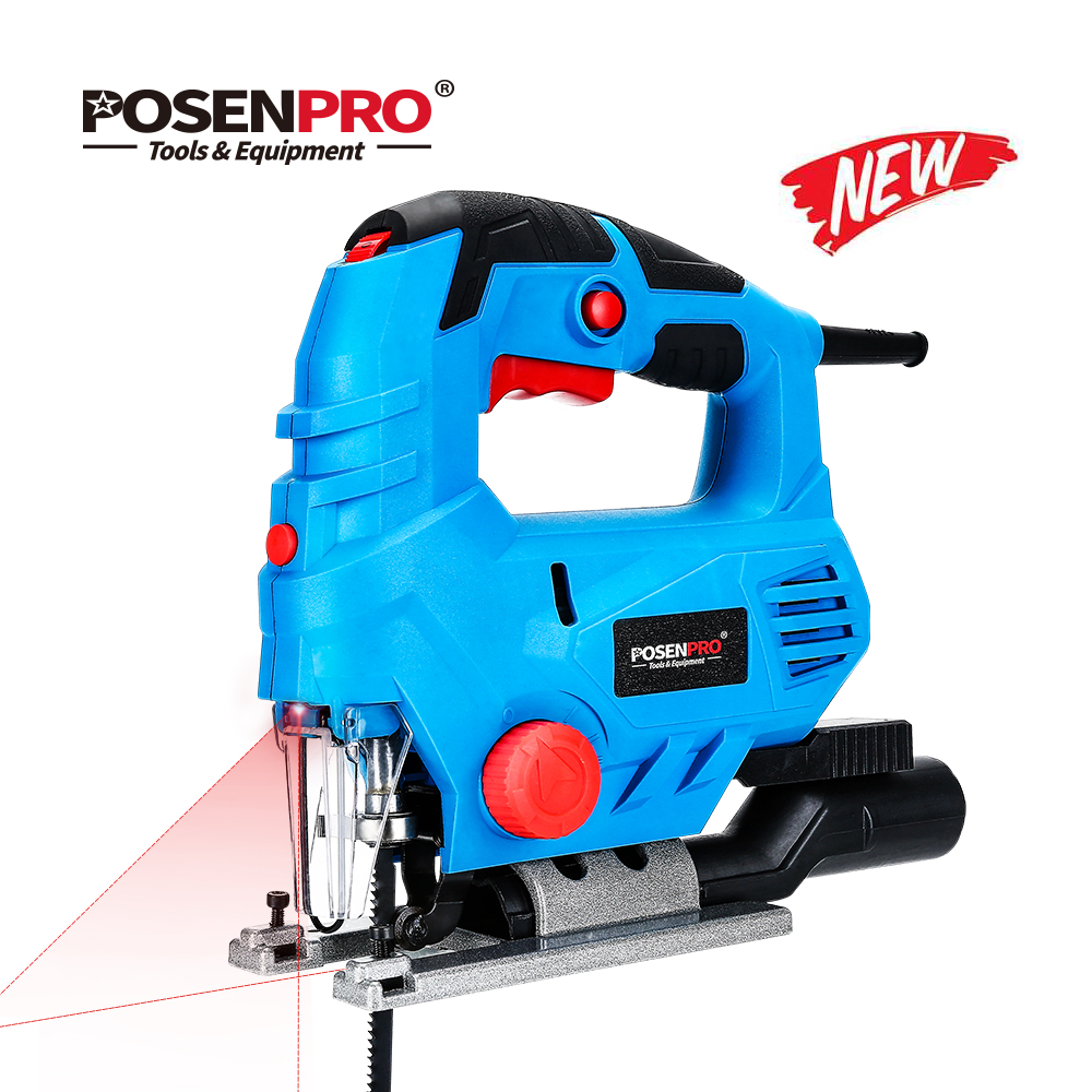 POSENPRO 800W Laser Jig Saw Variable Speed Multifunctional Jigsaw Electric Wood Saw Metal Ruler 2pcs Saw Blades For Woodworking