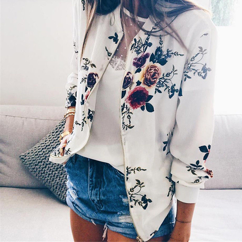 Fashion Bomber Femal Jacket Women Floral Long Sleeve Outwear Casual Tops Female Coat Kimono Basic Bomber Femal Jacket  Floral