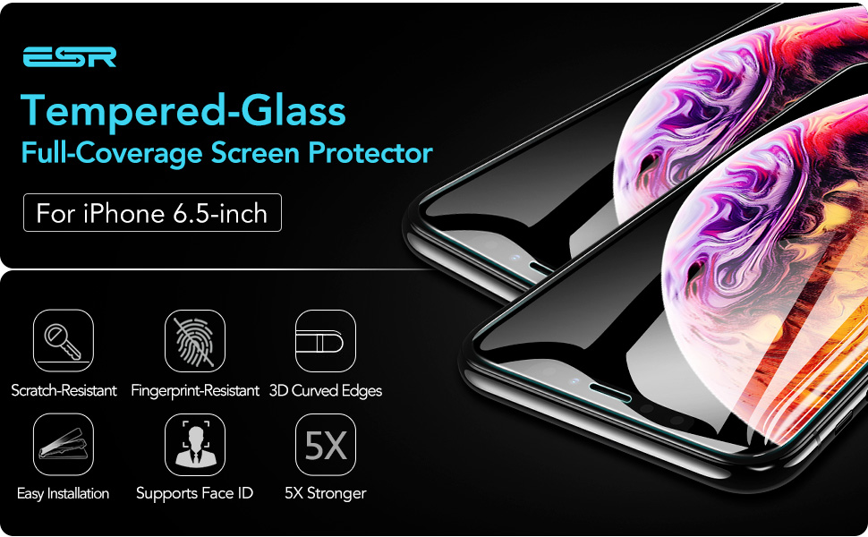 Premium ESR Clear Tempered Glass Screen Protector for iPhone 11 Pro Max 6