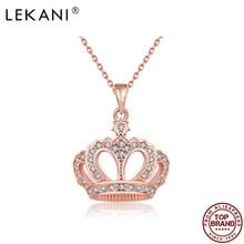 LEKANI с геометрическим рисунком для девочек Благородная королева с подвеской с изображением короны, ожерелья для женщин розового золота юбил...