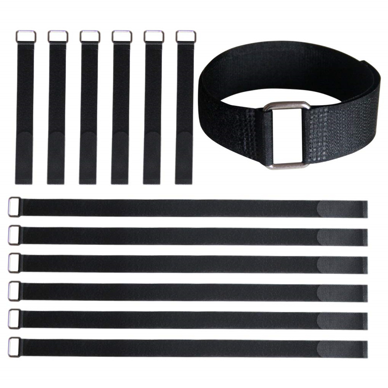 10pcs/Lot 2cm Width Nylon Hook and Loop Ties Down Straps with Metal Buckle Fastening Cable Straps Adjustable Reusable Cablt Ties