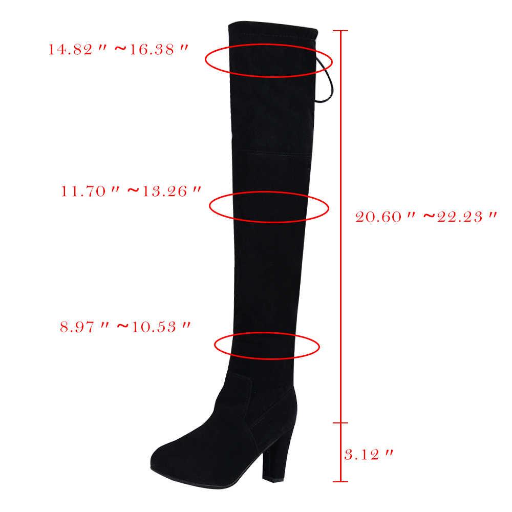 Adisputent moda kadın uyluk yüksek çizmeler moda süet deri yüksek topuklu Lace up kadın diz çizmeler üzerinde artı boyutu ayakkabı