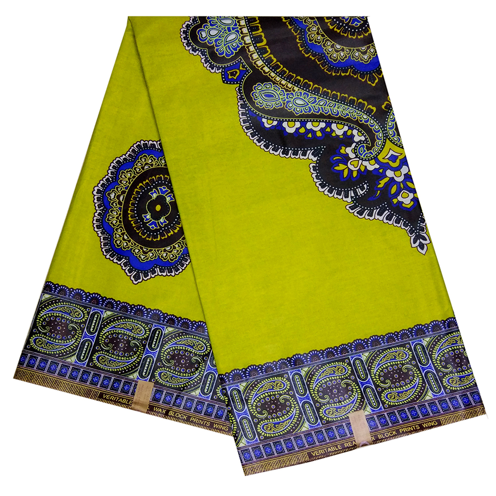African Fabric New Arrival Nigeria Veritable Wax African Yellow Cotton Wax Print Fabric For Dress 6Yards