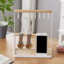 Portable Jewelry Display Tray Stand with Wooden Ring Storage Hooks Necklace Bracelet Ring Watch Jewellery Holder Gifts