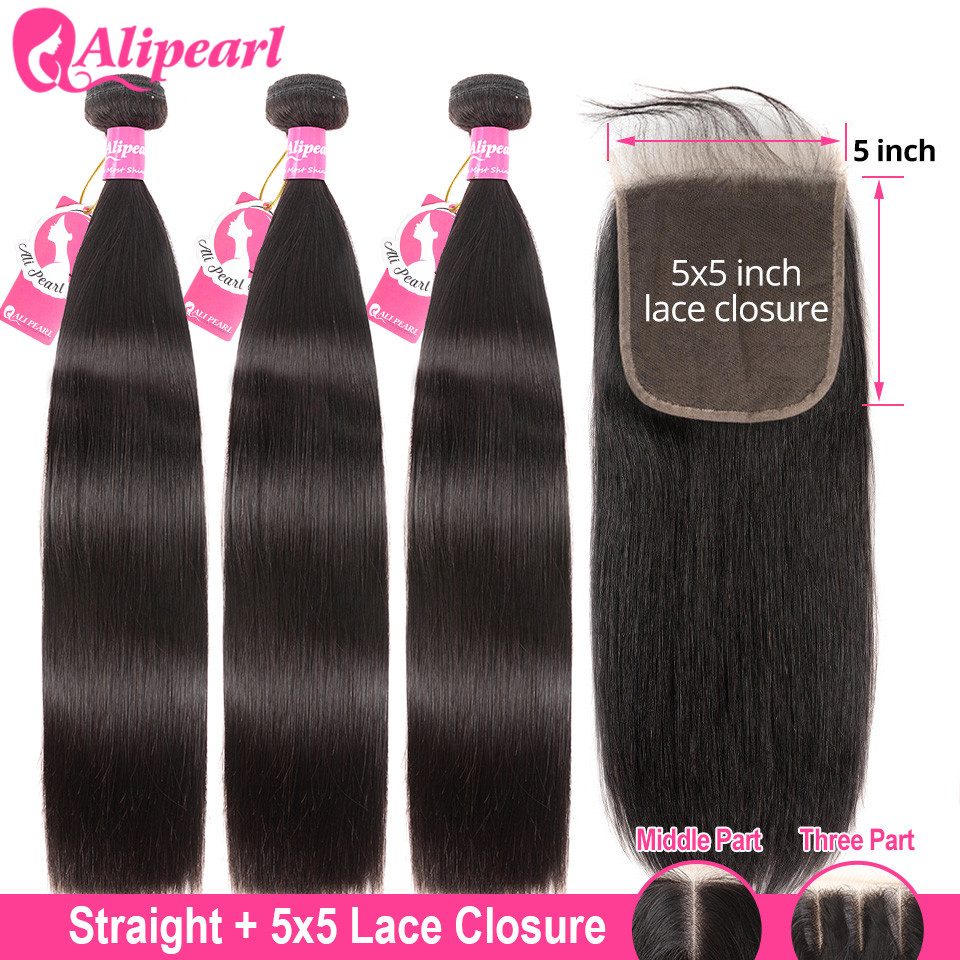 Alipearl Hair Hair-Extension Weave 5x5 Closure Straight 3-Bundles with Brazilian-Hair title=