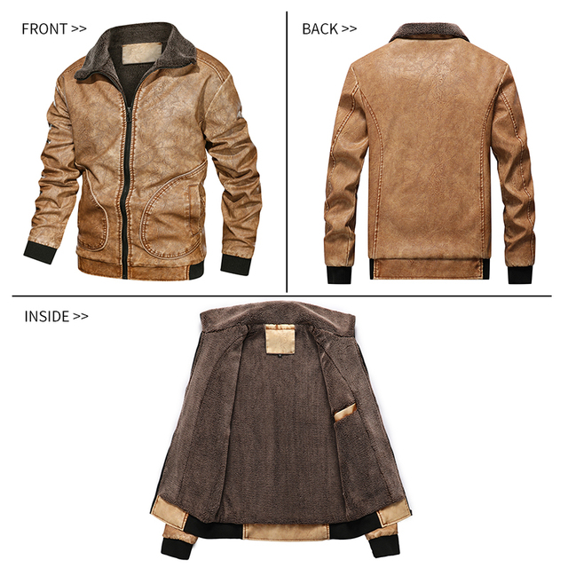 Winter Mens PU Jacket Thick Warm Men's Motorcycle Jacket New Fashion Windproof Leather Coat Male Size 3XL 5