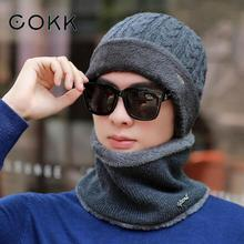 COKK Winter Beanies Scarf Men Knitted Hat Caps Mask Gorras Bonnet Warm Baggy Winter Hats For Men Women Skullies Beanies Hats