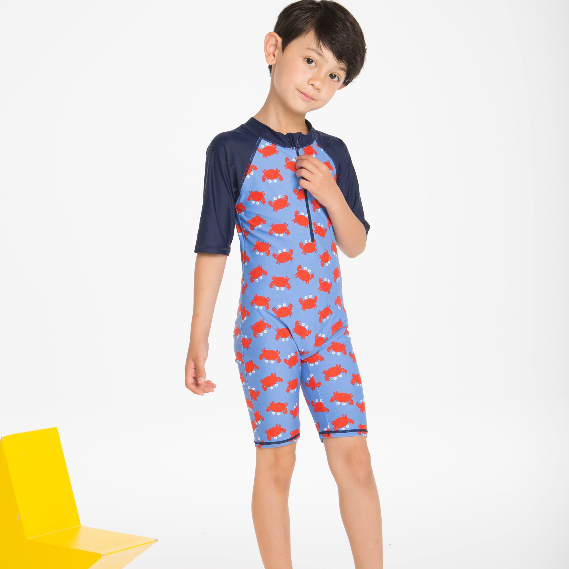 Water Sports BOY'S Clothes With Short Sleeves Cute Crab One-piece Beach Sun-resistant Bathing Suit Warm Tour Bathing Suit