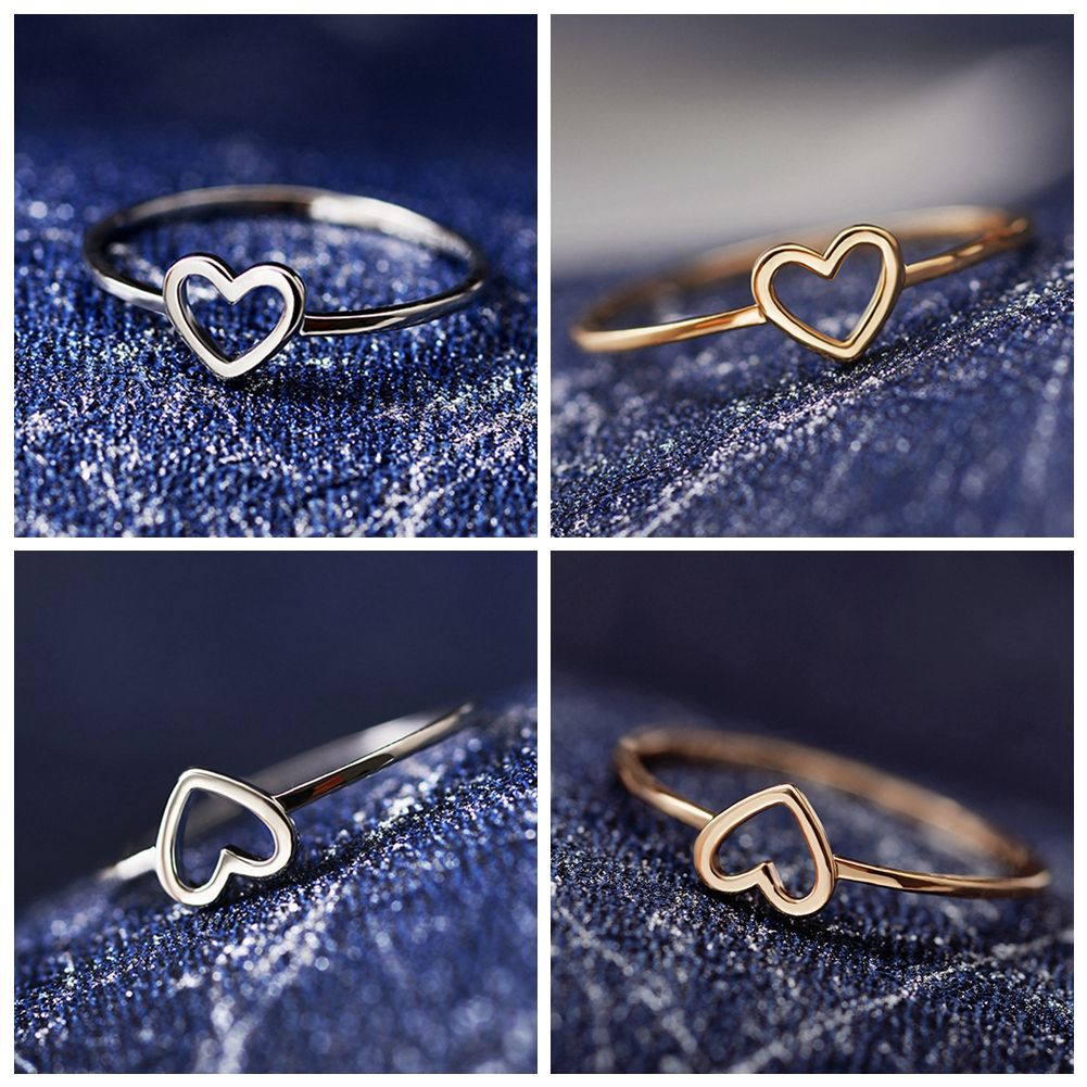 1PC Dainty Women Ring Hollow Heart Ring For Couple Wedding Promise Infinity Eternity Love Jewelry Boho Anillos Mujer BFF Gifts
