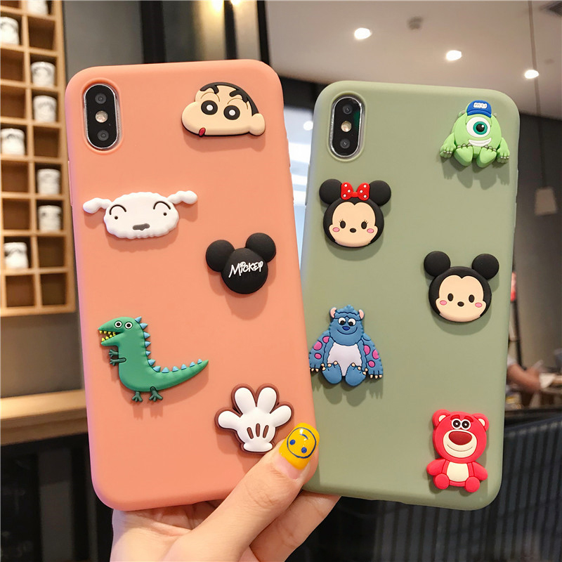 cute <font><b>3D</b></font> <font><b>cartoon</b></font> mickey minnie case on for <font><b>iphone</b></font> 11 pro 2019 x xr xs max 8 7 6 6s plus 5 <font><b>5s</b></font> se soft tpu matte back cover <font><b>fundas</b></font> image